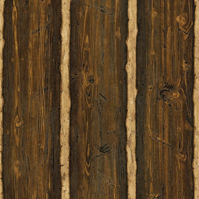 Log Cabin Brown Wood Paneling Wallpaper Swatch rustic-wallpaper - Log Cabin Brown Wood Paneling Wallpaper - Rustic - Wallpaper - By