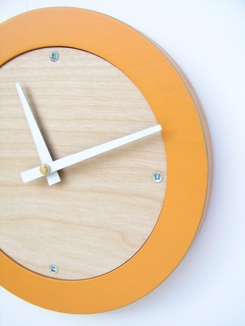 Tangerine Creamsicle Modern Wall Clock by Uncommon Handmade