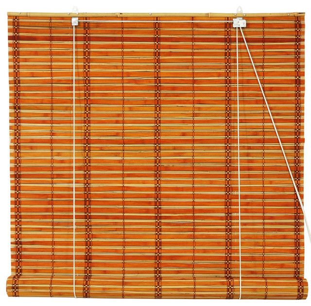 "Burnt Bamboo Roll Up Blinds, Two-Tone Honey, 60""x72""."