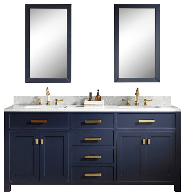 72 Monarch Blue Double Sink Bathroom