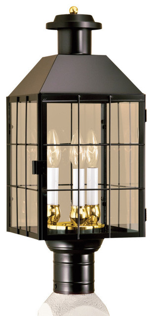 American Hertitage Post 3-Light, Black With Clear Glass