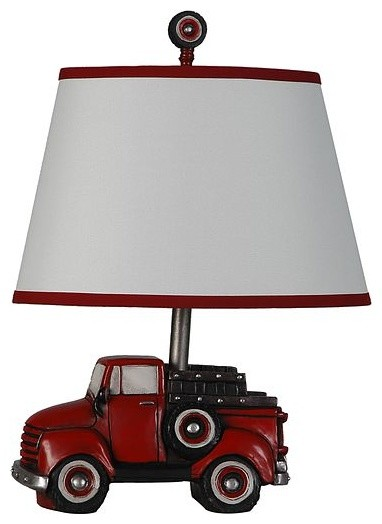 Charming Truck Table Lamp With Shade, Antique Red