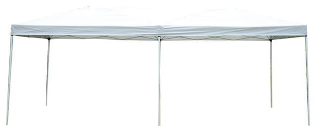Outsunny 10&x27;x20&x27; Pop-Up Canopy Shelter Party Tent With Mesh Walls, Cream White.