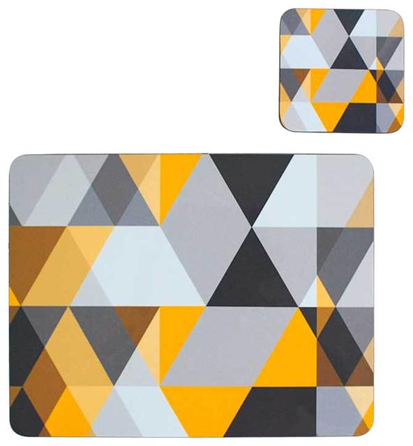 Scandi Geometric Placemat and Matching Coaster, Yellow and Grey