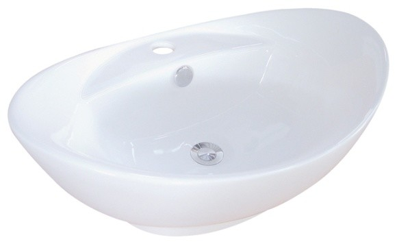 Harmon White China Vessel Bathroom Sink With Overflow Hole & Faucet Hole Ev4080.
