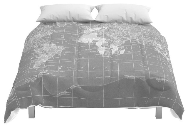 Society6 World Map Comforter, Queen, 88x88
