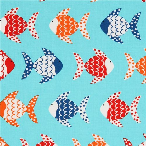 turquoise fish fabric by Robert Kaufman from the USA