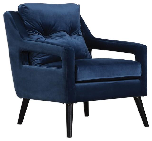 Charmant Uttermost Ou0027Brien Blue Velvet Armchair