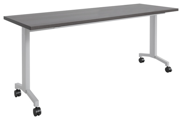 "Rightangle Flip Training Table With Casters, 30""x60"", Silver Base."