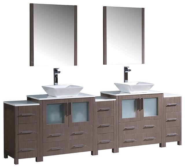 """Fresca Torino Vanity, Double Sink, Vessel Sinks, Gray Oak, 96""""."""