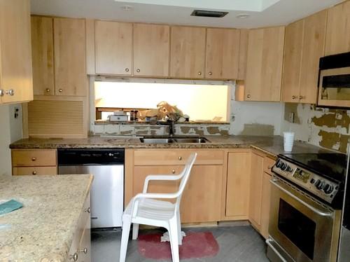 how to lay backsplash around kitchen pass through?