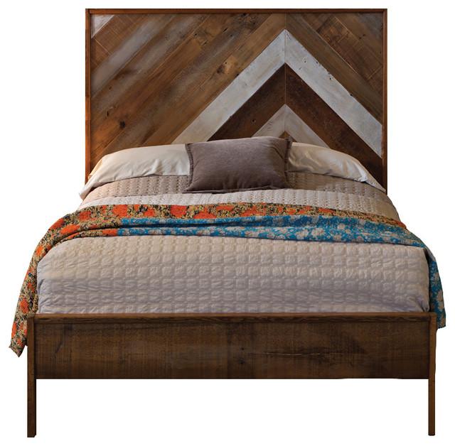 Chevron Reclaimed Wood Bed Queen