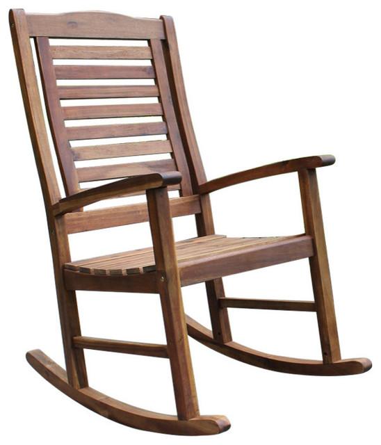 Acacia Trinidad Porch Rocker Brown Outdoor Rocking Chairs by Internationa