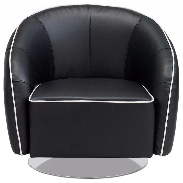 Michael Black Leather Swivel Lounge Chair Contemporary