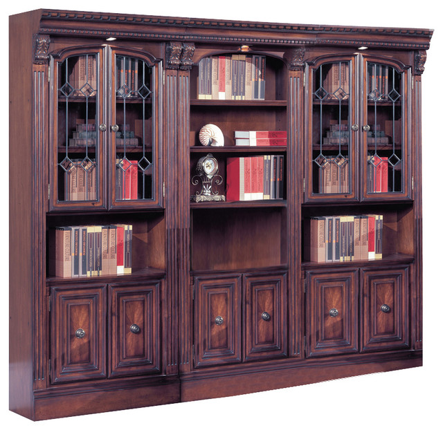 Huntington Library Wall Unit Chestnut 3 Piece