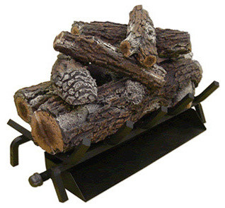 "Safety Pilot Triple Burner With Gas Logs, Charred Split Oak Logs, 30""."