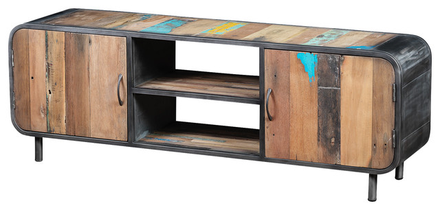Recycled Boat Wood TV Unit With 2 Doors  industrial-entertainment-centers-and-