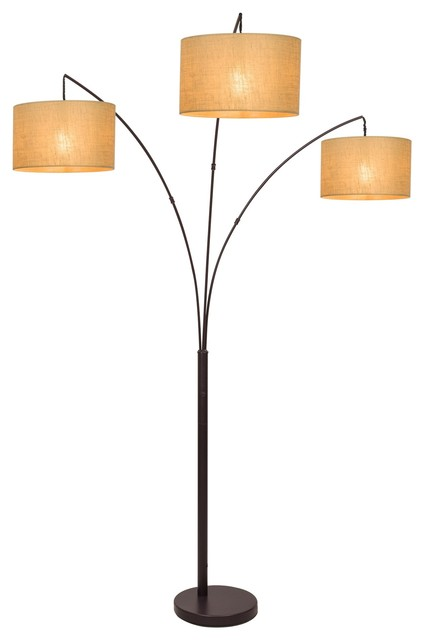 Attractive Revel Akira Arc Floor Lamp, Bronze Finish, Beige Shades, Bronze Finish  Transitional