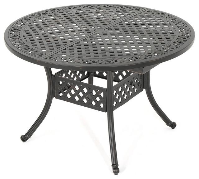 GDF Studio Sakura Outdoor Patina Copper Expandable Aluminum Dining Table