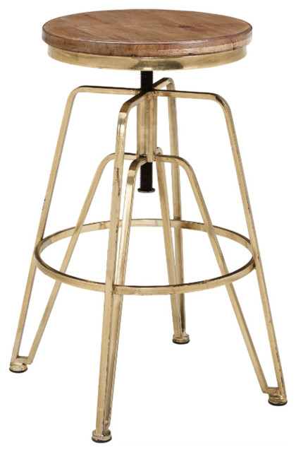 Wood And Metal Adjustable Stool Industrial Bar Stools And