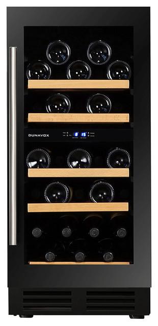 Dunavox 32 Bottle Built In Dual Zone Wine Cooler, Black
