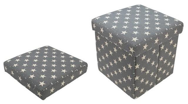 Groovy Decorative Star Fabric Ottoman Storage Box Gray 12 Dailytribune Chair Design For Home Dailytribuneorg
