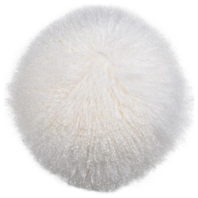 Gila Lamb Fur Pillow, White.
