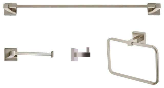 Italia Capri Series Brushed Nickel 4 Piece Bathroom Accessory Set
