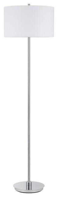 150w 3 Way Halle Metal Floor Lamp With Hardback Fabric Shade.