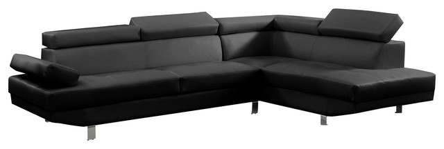 Charmant 2 Piece Modern Faux Leather Sectional Sofa With Functional Armrest, Black