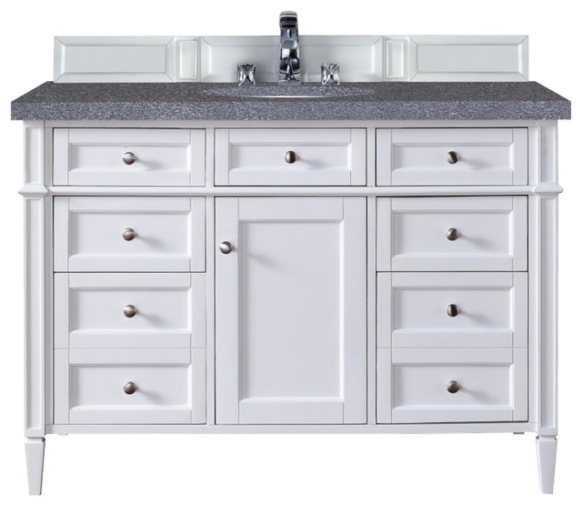 "James Martin Furniture Brittany 48"" Single Cabinet, Cottage White - Bathroom"