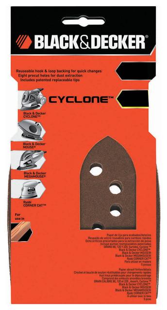 Black And Decker Power Tools 80 Grit Mega Mouse Coarse Sandpaper, Set Of 5.