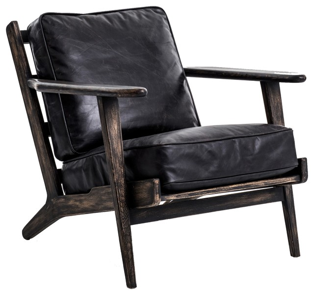 Terrific Landon Mid Century Modern Brooks Leather Lounge Chair Cjindustries Chair Design For Home Cjindustriesco