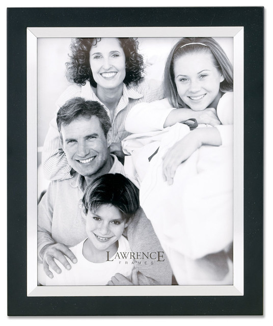 Black Wood 11x14 with Silver Metal Inner Bezel Picture Frame