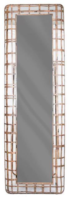 Sagebrook Home Metal Grid Floor Mirror, Brown.