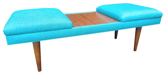 Mid century modern coffee table ottoman retro teal for Teal coffee table