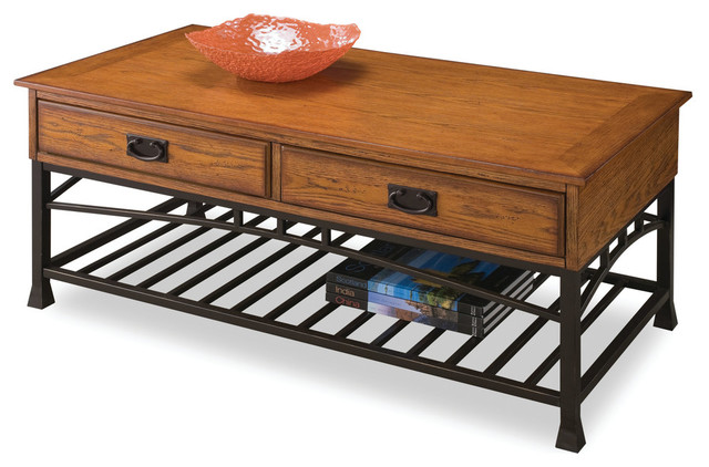 home style 5050-21 modern craftsman coffee table, distressed oak