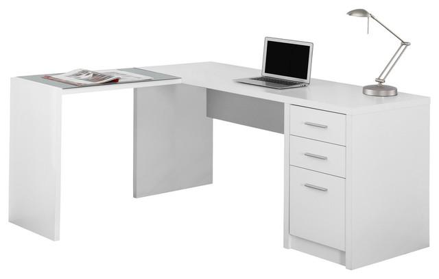 Corner Computer Desk With Tempered Glass, White