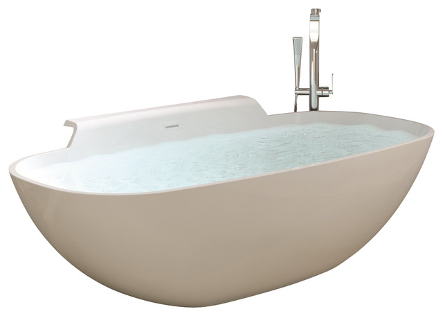 Adm adm white stand alone resin bathtub view in your room houzz - Stand alone bathtubs ...