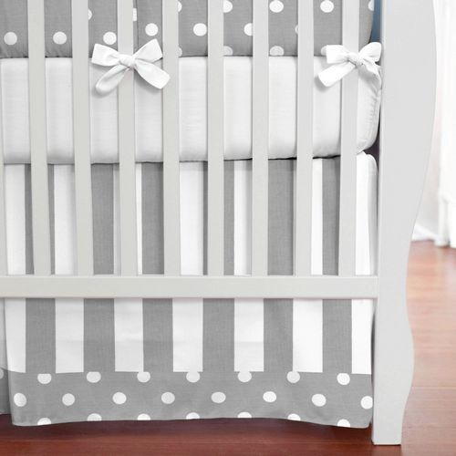 Gray and White Dots and Stripes Crib Skirt