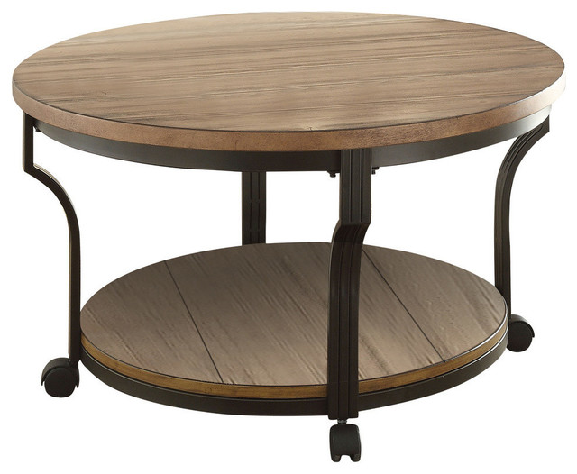 Redondo Coffee Table Oak And Black Industrial Coffee