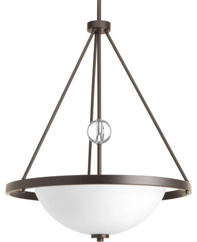 Compass 3-Light Inverted Pendant, Antique Bronze, Etched/painted White.