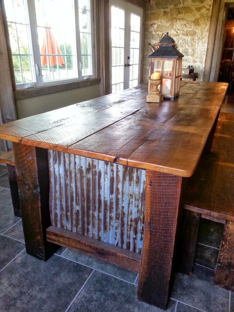 Farmhouse Barnwood Table with Benches Rustic Dining Tables St Louis b