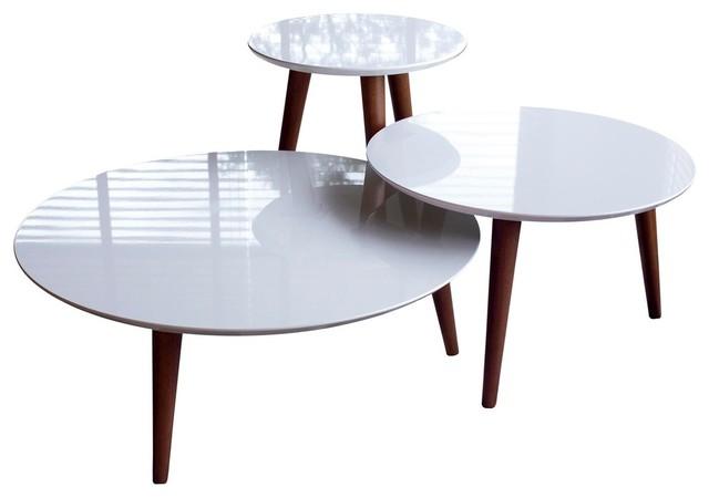 Mid Century Modern Round Wooden Accent End Tables 3 Piece Set White
