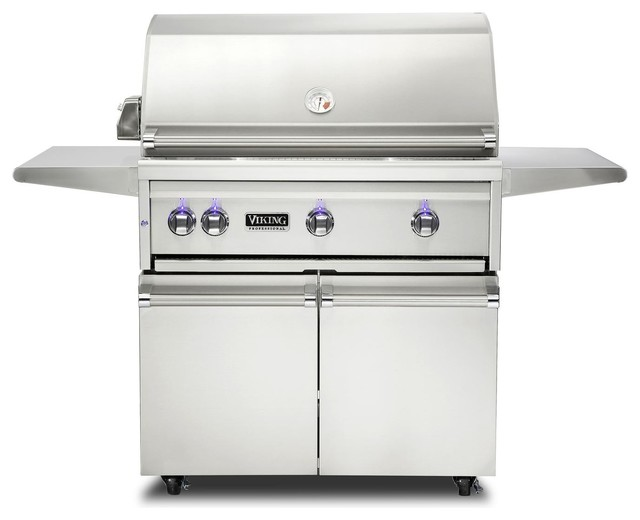 """Viking Professional 36"""" Natural Gas Freestanding Grill, Stainless Steel."""