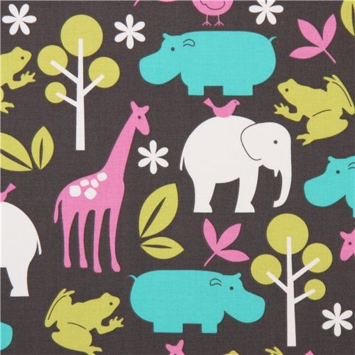 grey Michael Miller fabric Zoology pink zoo animals