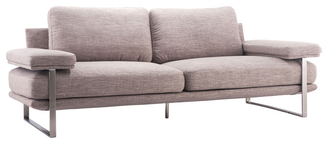 Kensley Modern Classic Wheat Brown Cushioned Silver Stainless Steel Sofa