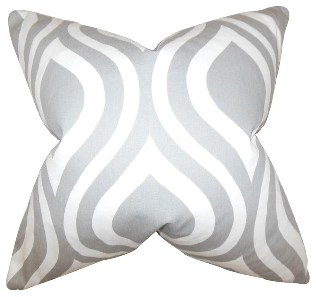 Light Gray Decorative Pillow : Larch Geometric Pillow, Light Gray - Mediterranean - Decorative Pillows - by The Pillow Collection