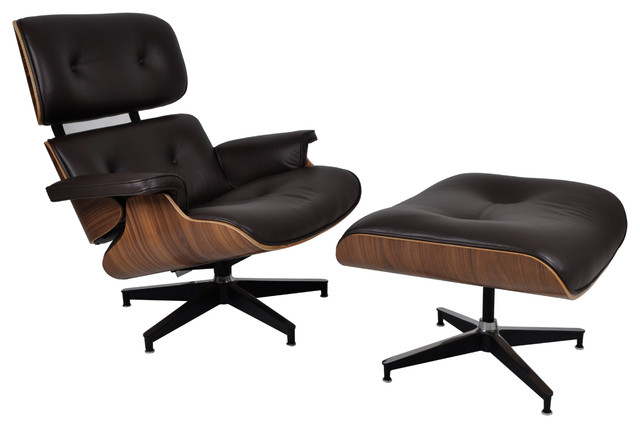 Shop houzz mlf plywood chair and ottoman 2 piece set for Brown chaise lounge indoor