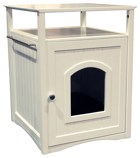 Cat Washroom Litter Box Cover/Night Stand Pet House, White ...